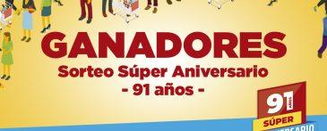 Ganadores Promo Súper Aniversario – 91 años